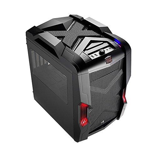 Aerocool STRIKEXCUBEBK - Caja Gaming para PC (ATX, Ventilador con iluminación LED Frontal 20 cm y Trasero 14 cm, 4 Slots expansión,USB 3.0, Audio HD,Ventana Transparente, Control Ventiladores), Negro