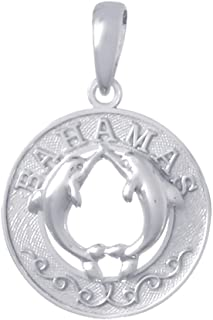 925 Sterling Silver Travel Charm Pendant, Bahamas, Dolphins In Center