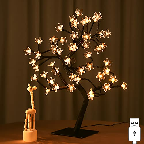 """Cherry Blossom Tree OURORA Tabletop Tree Light 17.7"""" 48LED USB Operated Artificial Flower Night Lights Tree for Bedroom Wedding Party Office Decoration Warm White"""