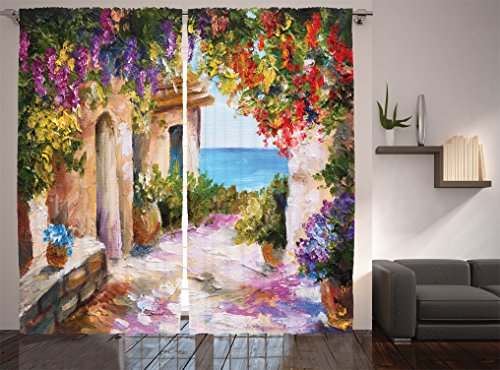 """Ambesonne Landscape Curtains, Old Village with Colorful Plants and Flower Gate Greek Houses Artwork, Living Room Bedroom Window Drapes 2 Panel Set, 108"""" X 84"""", Purple Beige"""
