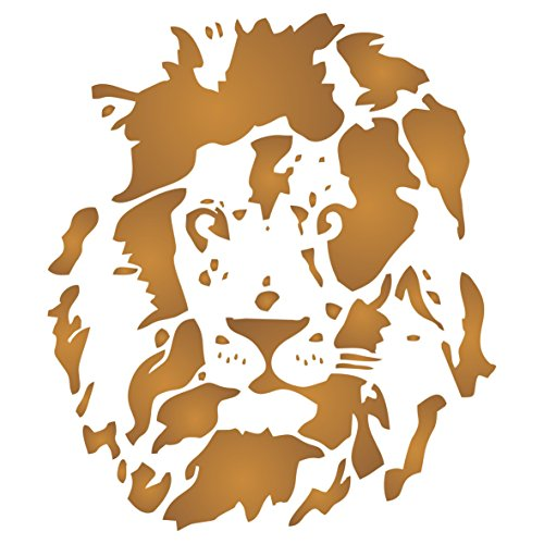 Lion Head Stencil - 25.5 x 29cm (M) - Reusable African Big Cat Animal Wildlife Stencils for Painting