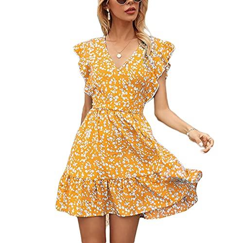Olisenci - Vestito da donna con motivo floreale, alla moda, casual, con scollo a V, maniche a balza e una stampa, giallo., S