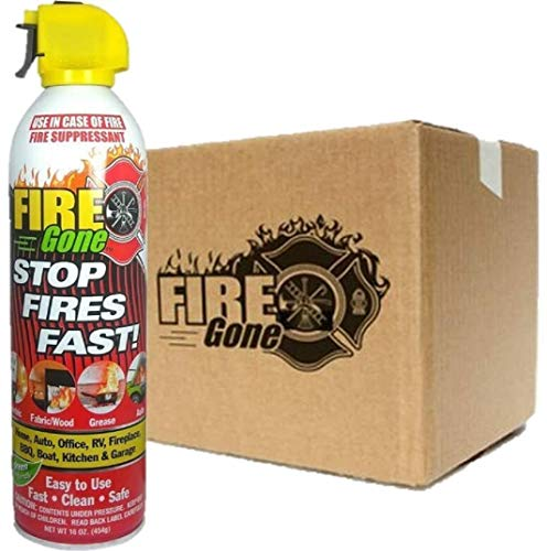 FireGone Fire Stopping Foam Spray for Class A, B, and C Fires - 16oz. Canister (12 Cans)