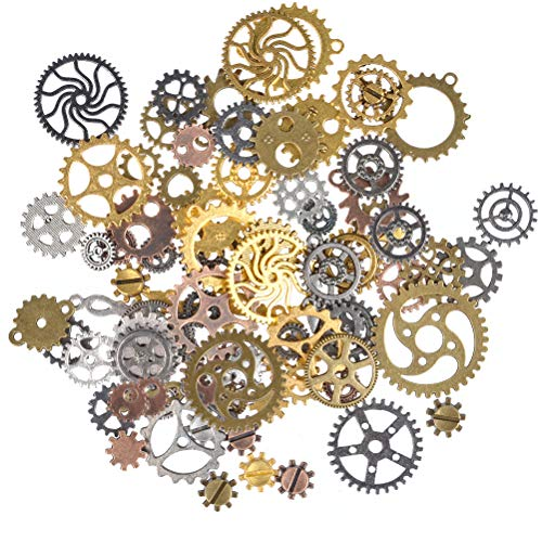 Antique steampunk gear charms Diameter: 7mm-30mm,mixed colors, bronze, copper, gold and silver; alloy metal material Perfect for scrapbooking projects, necklace pendant drop, jewelry making accessories,shoes' decorations. Great DIY gift for your frie...