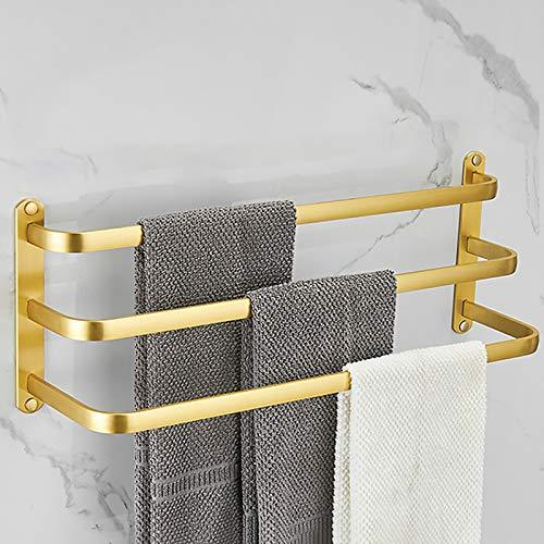 YTXWZ Barra de Toalla Hecho de Aluminio, Adhesivo Fuerte Toalleros de Barra Tres, Estante de Toallas Oro para Montar en la Pared, para el baño de Home Hotel, Sin Taladrar80cm/31in