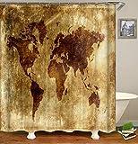 Patrón de mapa del mundo Cortina de ducha Cortina de baño Cortina de mapa de pared de ducha Cortina de ducha de mapa del mundo impermeable 3D Cortina de ducha impermeable a prueba de moho A6 90x180cm