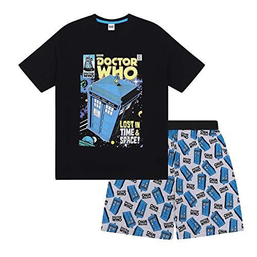 Doctor Who - Herren Schlafanzug - kurz - Retro-Design - offizielles Merchandise - Geschenk - Schwarz - S