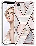 Imikoko iPhone XR Case Stylish Shiny Rose Gold Marble