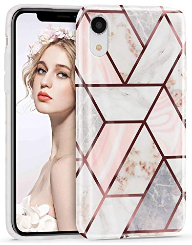 Imikoko Hülle für iPhone XR Glitter Bling Rosegold Handyhülle TPU Weiche Schlank Schutzhülle Handytasche Flexibel Case Handy Hülle