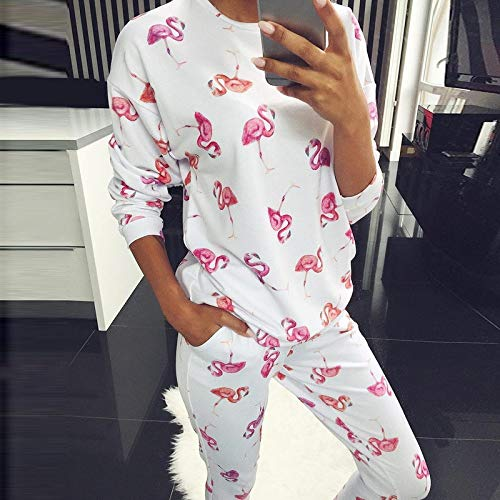 ASDWA Damen Zweiteiliger Schlafanzug,Damen Langarm Pyjamas Tops Und Hosen Set Weiß...