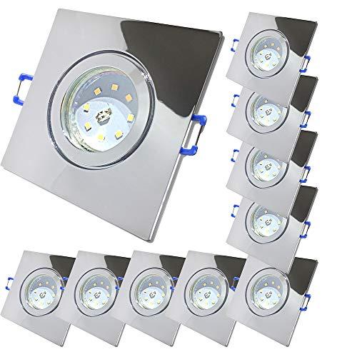 LED Bad Einbaustrahler 230V inkl. 10 x 5W SMD Modul Farbe Chrom IP44 LED Deckenspots Neptun Eckig 4000K Einbauleuchten
