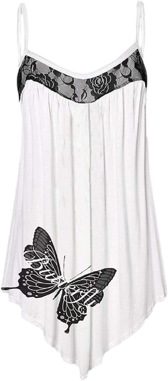 Juybenmu Women Loose Chiffon Blouse Sleeveless Sweet Style Lace Patchwork Tank Top Irregular Hem Cami Vest
