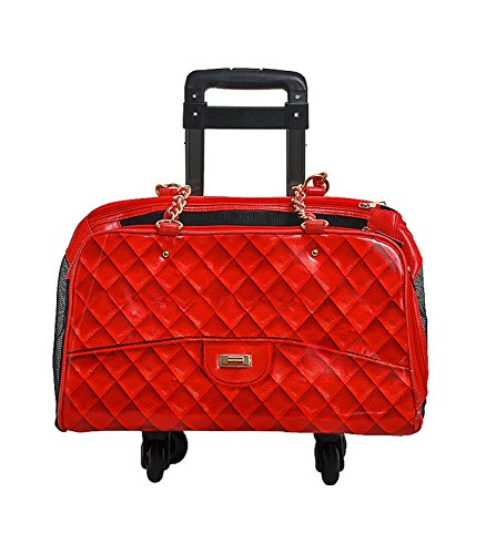Fashion Dog Carrier with Detachable 4 Wheel Trolley - Airline Approved - Coco - Red