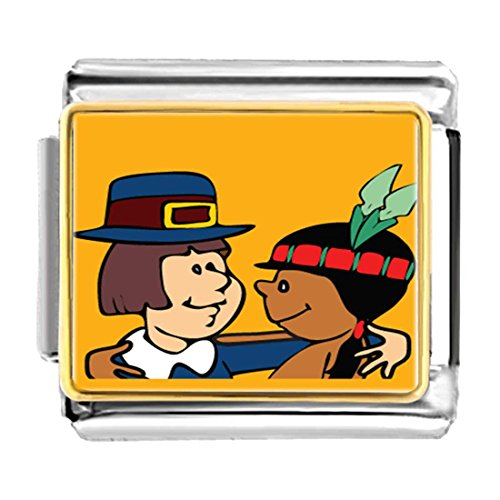 GiftJewelryShop Gold Plated Thanksgiving Pilgrim Indian Couple Bracelet Link Photo Italian Charm
