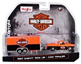 Maisto 1987 Chevrolet Pickup Truck with Enclosed Car Trailer Orange & Black Harley Davidson 1/64 Die-Cast Model Car 15363-HD1