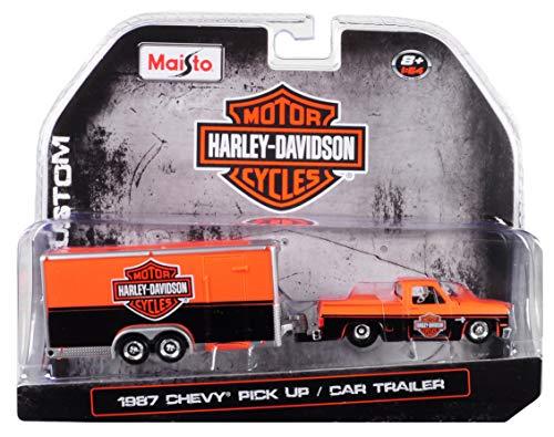 Maisto 1987 Chevrolet Pickup Truck with Enclosed Car Trailer Orange & Black Harley Davidson 1/64 Die-Cast Model Car 15363-HD1