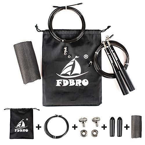 FDBRO スピードジャンプロープ 調節可能な縄跳び 耐久性のワークアウトボクシング 総合格闘技 WOD クロスフィット 格闘技 ステイイングフィット 追加のスキッピングトレーニング 速乾タオル付き (ブラック)