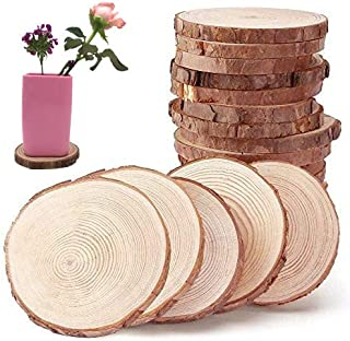 """12pcs 3.5""""-4"""" Unfinished Natural Wood Slices Circles with Tree Bark Log Discs for DIY Craft Rustic Wedding Ornaments"""