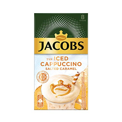 Jacobs Iced Cappuccino Salted Caramel, 80 Sticks mit Instant Kaffee, 10 x 8 Getränke, 142 g