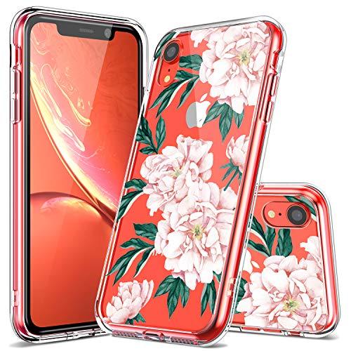 Luhouri iPhone XR Hülle, transparente Hülle, Mädchen Frauen Blumen Heavy Duty schützende harte PC Rückseite Hülle mit stoßfest Slim TPU Bumper Cover Handyhülle für iPhone XR, rosa Blume
