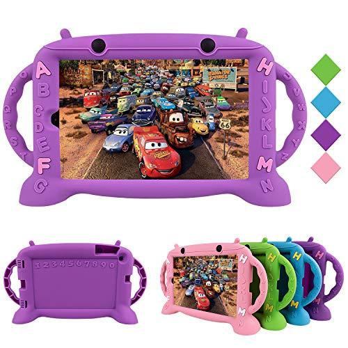 CHIN FAI Funda para niños para Samsung Galaxy Tab A 10.1 2019, Funda Protectora de Silicona a Prueba de Golpes con asa para Samsung Tab A 10.1 Pulgadas Tablet SM-T510 / SM-T515 2019 Release-Purple