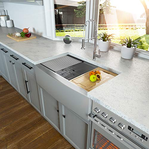 36 Farmhouse Sink - Kichae 36 Inch Farmhouse Kitchen Sink Undermount Ledge Workstation Apron Front Single Bowl 18 Gauge Stainless Steel Kitchen Farm Sink