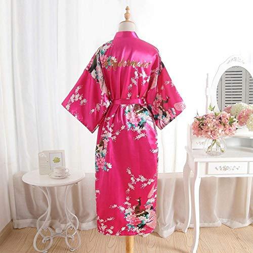 HIUGHJ Albornoz de Mujer Seda Dama de Honor Novia Bata Bata de mucama Madre de la túnica Mujeres Satén Boda Kimono Vestido de camisón Sexy, Dama de Honor Rosa, XXXL