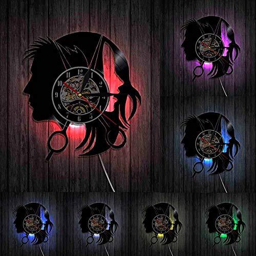 Peluquería salón de belleza tienda logotipo negocio reloj de pared peluqueros salón elegante tijeras de pelo corte de pelo Peluquero vinilo registro de pared reloj luces LED