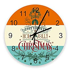 Roses Garden 12-Inch Indoor Silent Non-Ticking Wall Clock Have a Very Merry Hooly Jolly Christmas Battery Operated Home Decor Wall Clock for Living Room/Kitchen/Office