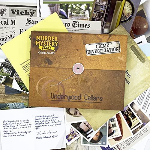 University Games Murder Mystery Party Case Files: Underwood Cellars Unsolved Mystery Detective Case File Game for 1 or More Players Ages 14 and Up
