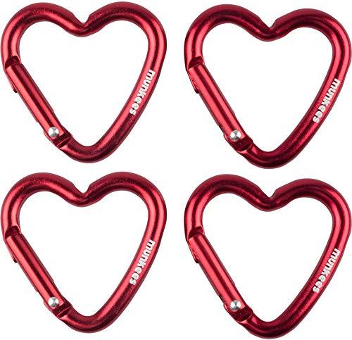 Munkees Mousqueton Coeur Porte Clés Mousqueton Multi-Usages Aluminium Rouge, Doppelpack Rot