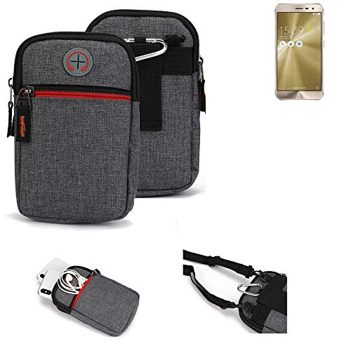 K-S-Trade® Gürtel-Tasche Für Asus ZenFone 3 (ZE520KL) Handy-Tasche Holster Schutz-hülle Grau Zusatzfächer 1x