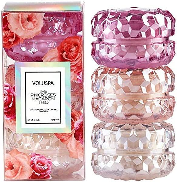 Voluspa Roses Macaron Trio Gift Set 1 8 Ounces Each