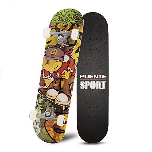 PUENTE 31' Skateboards Complete,Tricks Skateboard for Beginners & Pro- 7 Layer Canadian Maple Wood Double Kick Concave...