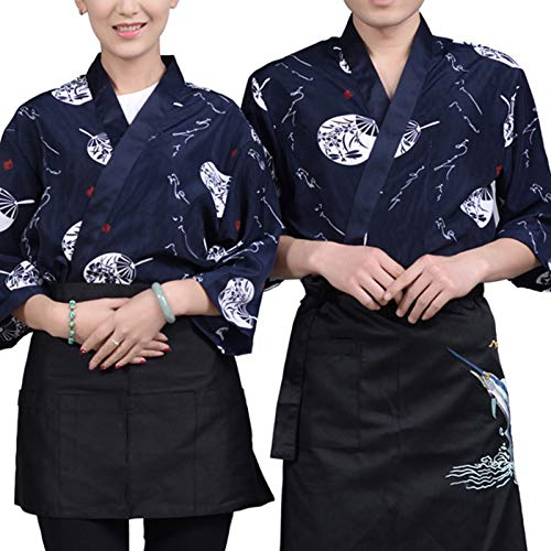 DNJKH Unisex Koch Mantel, Atmungsaktiv Hotel Jacke, Mode Japanischer Stil Sushi Hemd