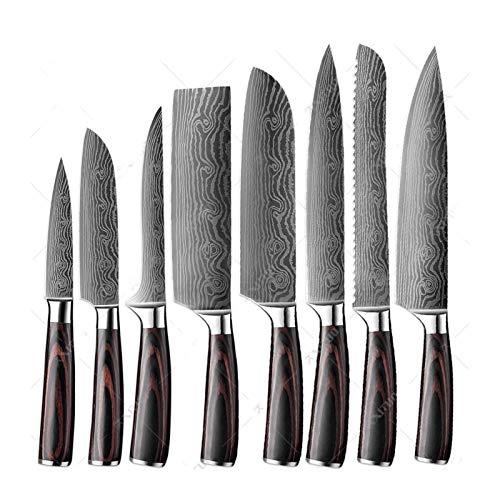 cuchillos Cuchillo de cocina 8pcs 7Cr17 acero de alto carbono del cocinero del cuchillo de carnicero japonesa rebanar el deshuesado de cortar Cuchillo Conjunto (Color : 8PCS A)