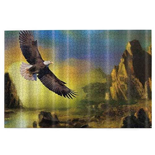 rompecabezas 1000 piezas para adultos Animal Eagle Volando En El Valle Crepúsculo Puzzle Para Niños Niñas Seniors Regalos