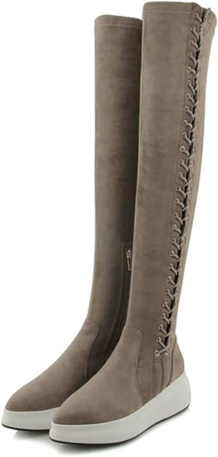 Zuezi WJ Womens High Over The Knee Elastic Curvy Stretch Pull On Low Heel Boots, Ladi