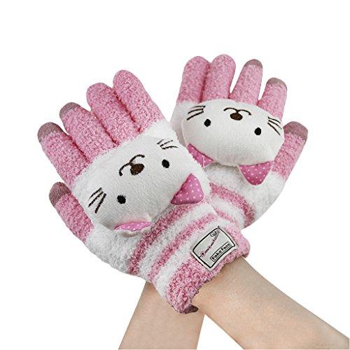 Guantes de invierno para mujer o niña, guantes de invierno de lana cálida, térmicos completos, guantes de pantalla táctil para teléfono, iPod, Samsung, tableta, iPad, otros smartphones Kitty Blanc Ta