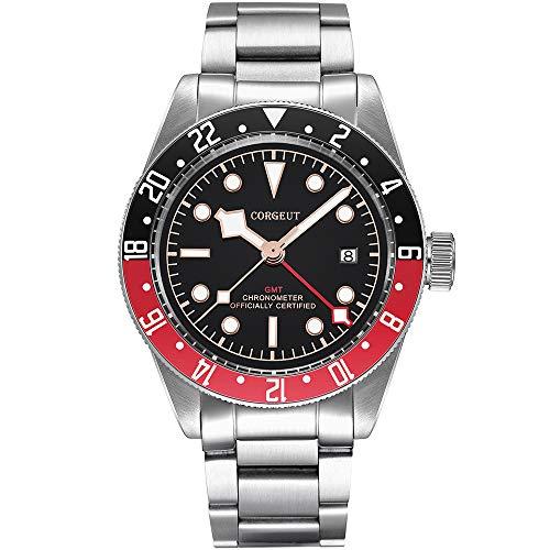 GMT - Reloj automático para hombre, de acero inoxidable, analógico, con fecha, cristal de zafiro, luminoso (negro-rojo-G)