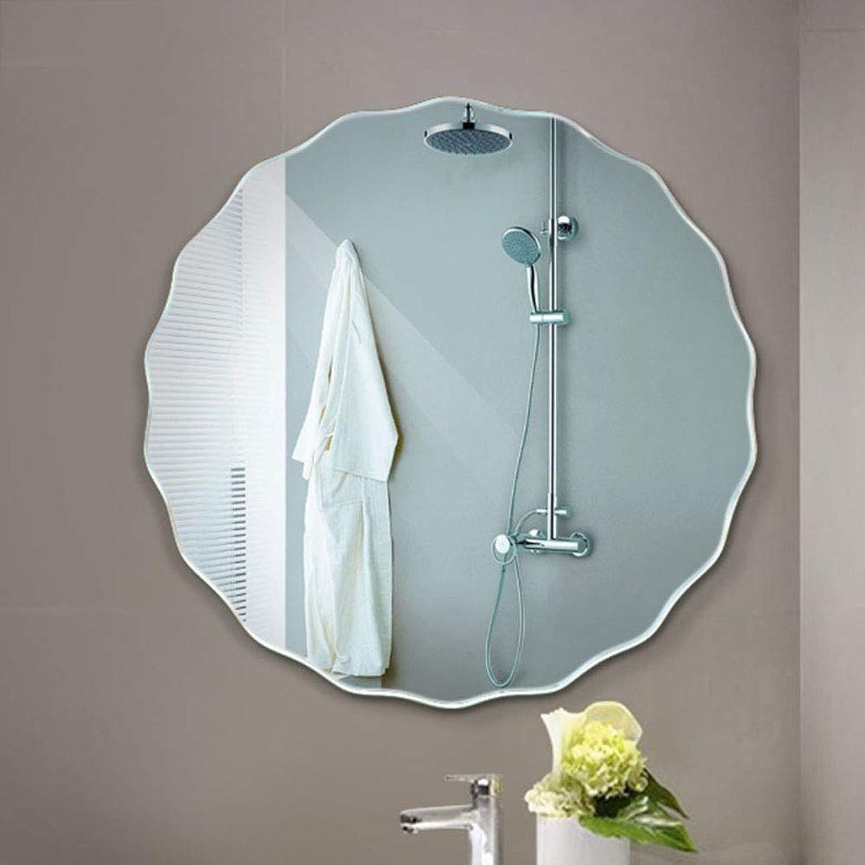Nclon Round, Hanging Wall Mirror Frameless Bathroom Mirror Bedroom Vanity Bathroom Living Room-50x50cm Paste