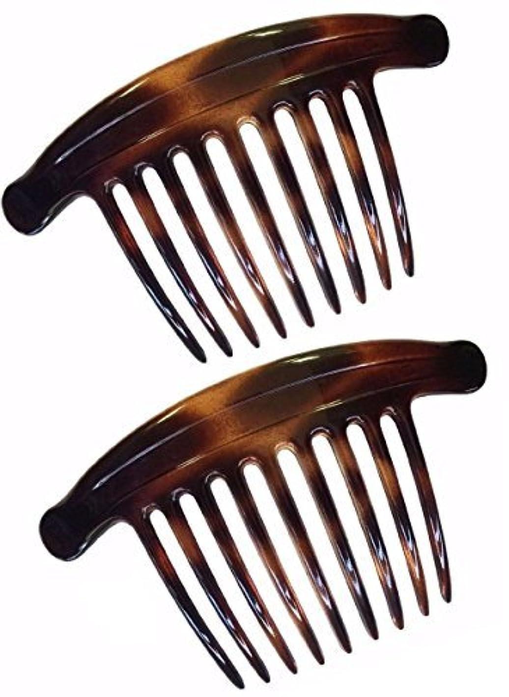 イヤホン名前誘惑Parcelona French Lip Interlocking 9 Teeth 4.5 Inch Large Cellulose Tortoise Shell Side Hair Combs [並行輸入品]