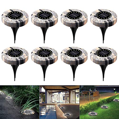 Solar Bodenleuchten 16 LEDs 8 Pack Wasserdicht Solar Gartenleuchte Aussen Edelstahl Landschaft Beleuchtung Solarlampen für Rasen/Gehweg/Patio/Hof
