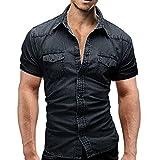 Homme Chemise en Jean Slim,Overdose Été Casual T-Shirt Manches Courtes Blouse Moulante Stretch Classique Top Workwear (L, Noir)
