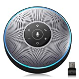 Bluetooth Speakerphone - M2 Gray Conference Speaker w/Dongle, Idea for Home Office 360º Voice Pickup 4 AI Echo & Noise Canceling Microphones, Skype USB Speakerphone AUX in/Out for up to 8 People