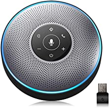 Bluetooth Speakerphone - eMeet M2 Gray Conference Speaker, Idea for Home Office 360º Voice Pickup 4 AI Echo & Noise Canceling Microphones, Skype USB Speakerphone AUX in/Out for up to 8 People