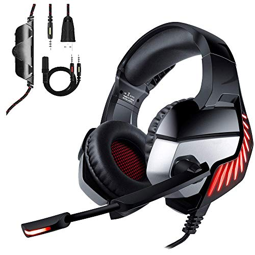 TAOXUE PS4 Headset Gaming-Headset Für Xbox One PC Nintendo Switch, Stereo Surround Gaming Kopfhörer Weiche Memory-Ohrenschützer LED Licht Geräuschunterdrückung,Schwarz