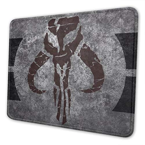 Large Manda-lorian Gray Background Movie Gaming Mousepad Laptop Mouse Pad Waterproof Non-Slip Mouse Pads Desk Decor Suitable for Office Family Games 10x12 Inch