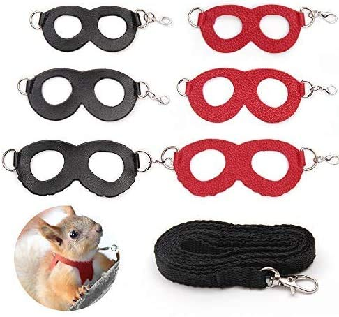 Sayopin Adjustable Hamster Harness Rat Leash Bearded Dragon Harness Guinea Pig Training Walking Leather Leash Reptile Harness Suitable for Small, Medium,Large Rats or Reptiles