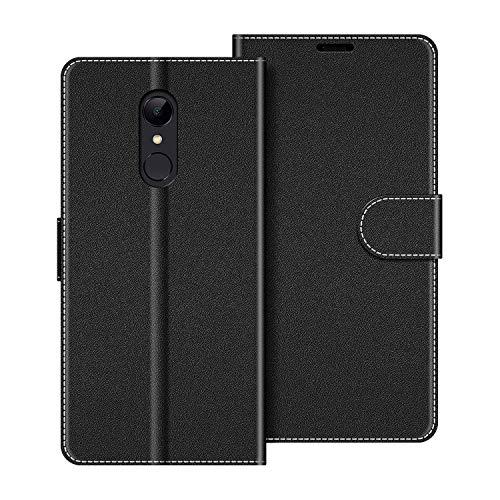 COODIO Handyhülle für Xiaomi Redmi 5 Handy Hülle, Xiaomi Redmi 5 Hülle Leder Handytasche für Xiaomi Redmi 5 Klapphülle Tasche, Schwarz